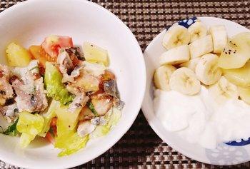 「CLOWD」、樹さん、朝食、イワシサラダ、バナナヨーグルト.jpg
